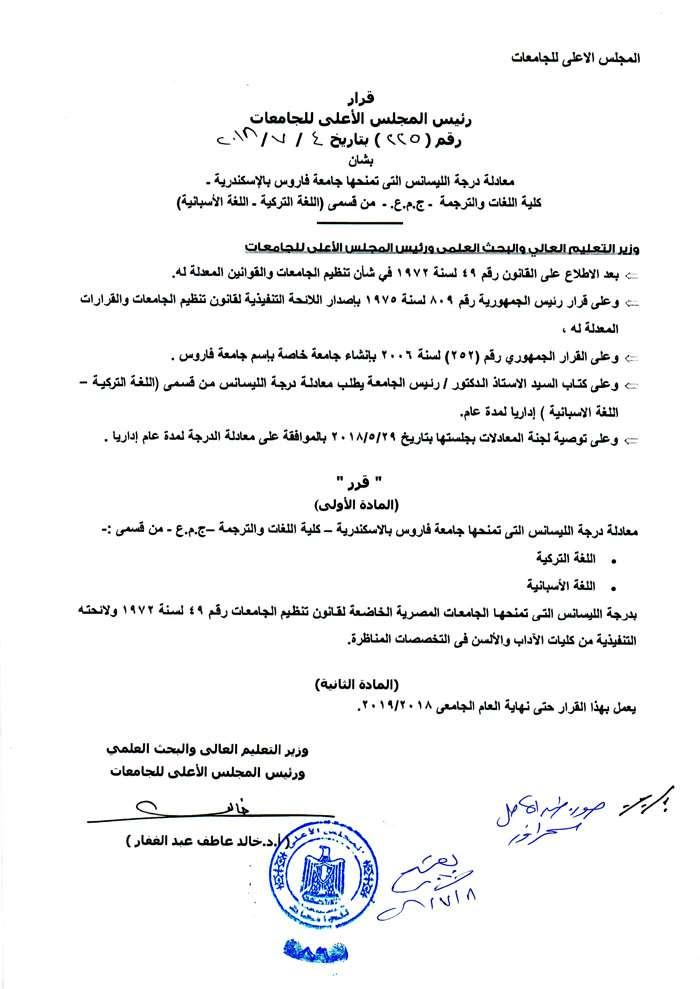 Degree Equivalence | Pharos University in Alexandria