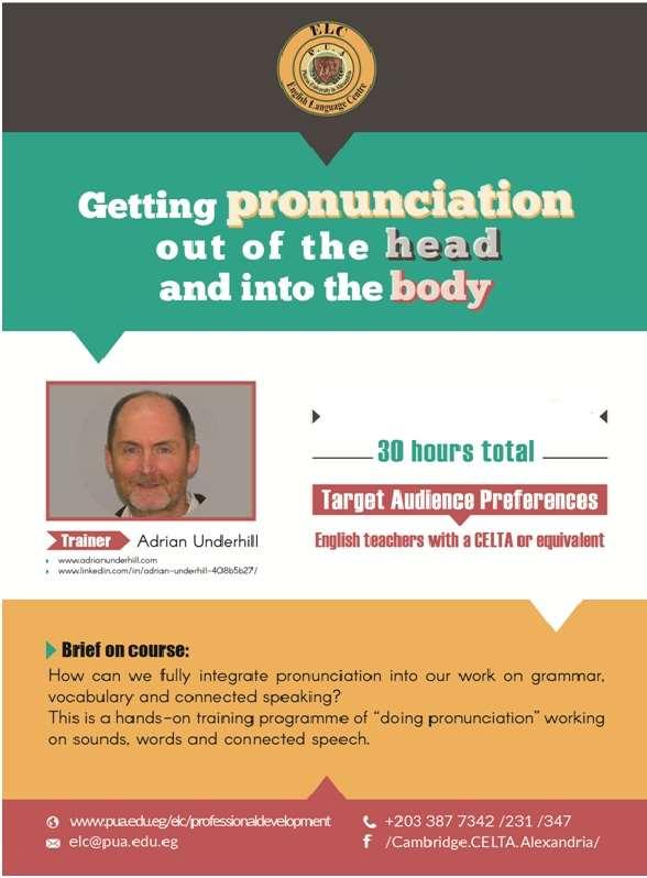 Professional Development Adrian Underhill Pronunciation Course 2018